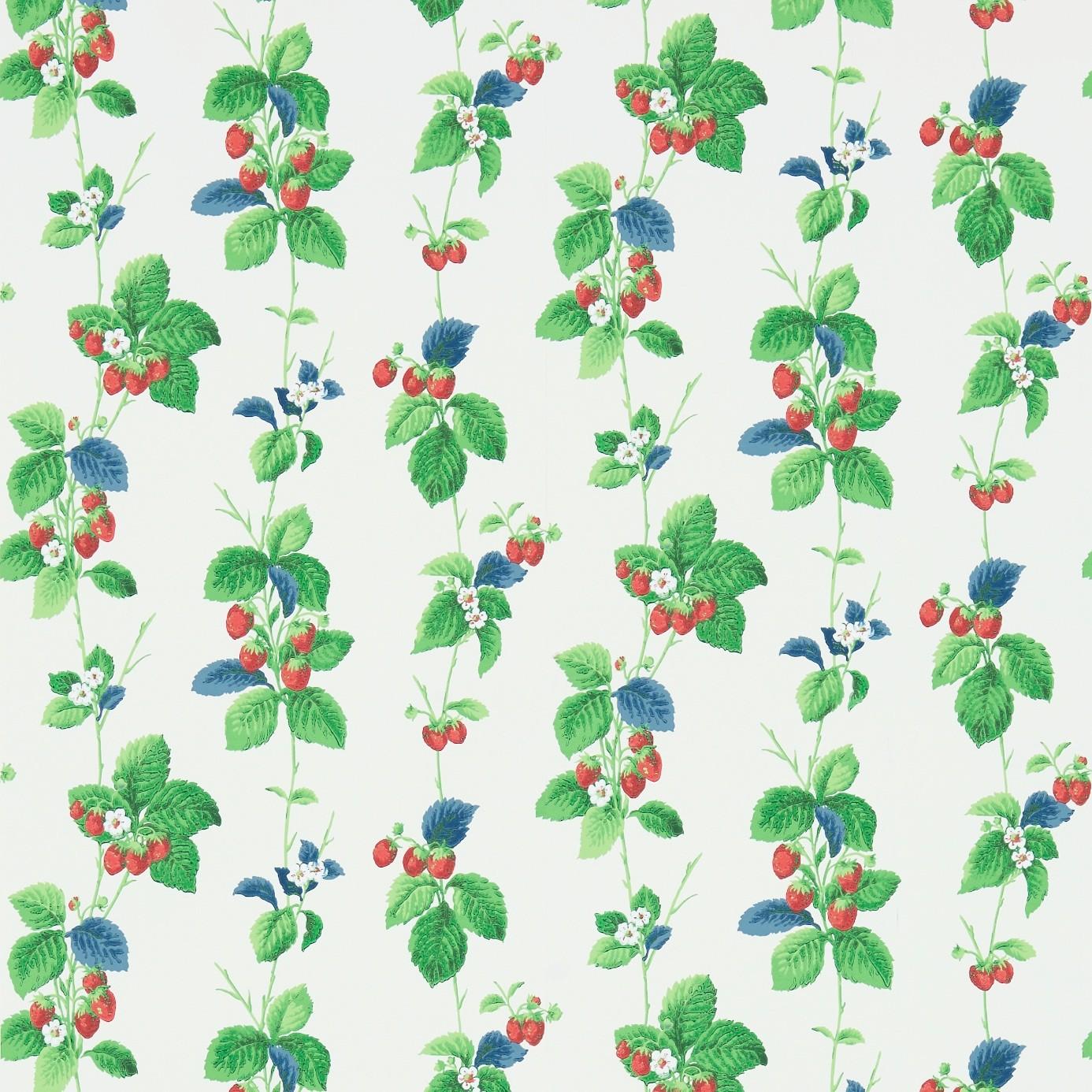Sanderson Summer Strawberries 214592 Wallpaper Strawberry Leaf