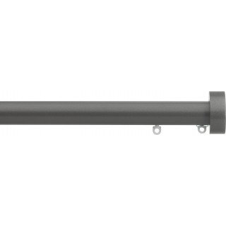 Silent Gliss 6130 Metropole 30mm Gunmetal Design Endcap Aluminium Curtain Pole