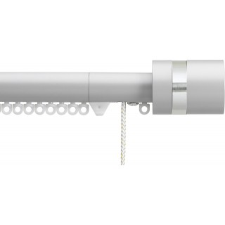 Silent Gliss Corded 6120 Metropole 30mm Anodic Grey Clear Disc Strata Aluminium Curtain Pole
