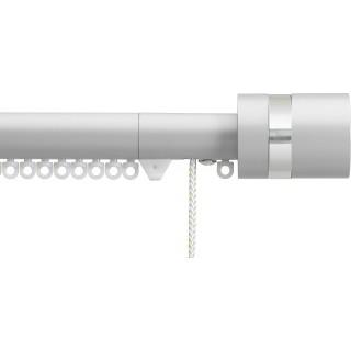 Silent Gliss Corded 6120 Metropole 30mm Anodic Grey Clear Disc Strata Aluminium Curtain Pole