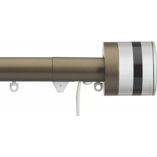 Silent Gliss Corded 6120 Metropole 30mm Antique Bronze Tinted Black Crystal Cylinder Aluminium Curtain Pole
