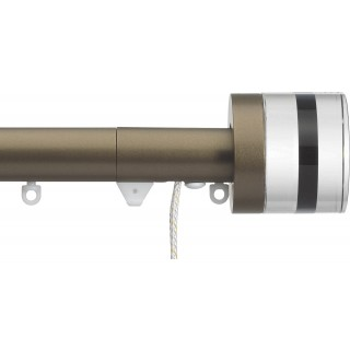 Silent Gliss Corded 6120 Metropole 30mm Antique Bronze Tinted Brown Crystal Cylinder Aluminium Curtain Pole