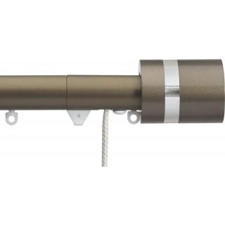 Silent Gliss Corded 6120 Metropole 30mm Antique Bronze Clear Disc Strata Aluminium Curtain Pole