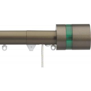 Silent Gliss Corded 6120 Metropole 30mm Antique Bronze Pale Green Disc Strata Aluminium Curtain Pole