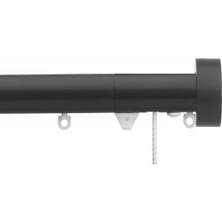 Silent Gliss Corded 6120 Metropole 30mm Black Design Endcap Aluminium Curtain Pole