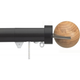 Silent Gliss Corded 6120 Metropole 30mm Black Oak Fused Ball Aluminium Curtain Pole
