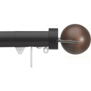 Silent Gliss Corded 6120 Metropole 30mm Black Walnut Fused Ball Aluminium Curtain Pole