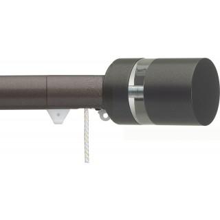 Silent Gliss Corded 6120 Metropole 30mm Bronze Clear Disc Strata Aluminium Curtain Pole