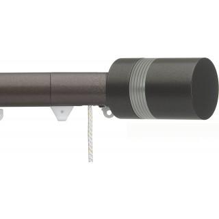 Silent Gliss Corded 6120 Metropole 30mm Bronze Clear Ribbed Disc Strata Aluminium Curtain Pole