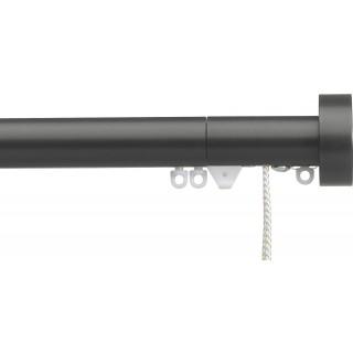 Silent Gliss Corded 6120 Metropole 30mm Charcoal Design Endcap Aluminium Curtain Pole
