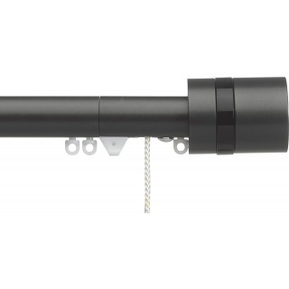 Silent Gliss Corded 6120 Metropole 30mm Charcoal Black Disc Strata Aluminium Curtain Pole