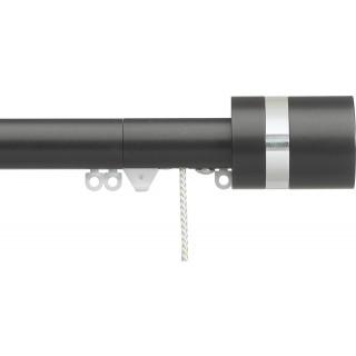 Silent Gliss Corded 6120 Metropole 30mm Charcoal Clear Disc Strata Aluminium Curtain Pole