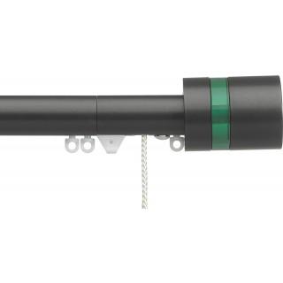 Silent Gliss Corded 6120 Metropole 30mm Charcoal Pale Green Disc Strata Aluminium Curtain Pole