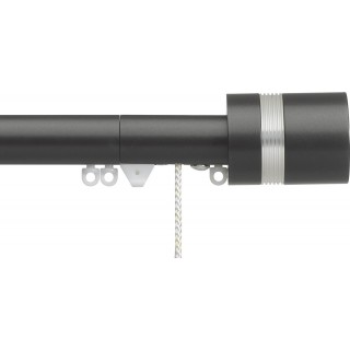 Silent Gliss Corded 6120 Metropole 30mm Charcoal Clear Ribbed Disc Strata Aluminium Curtain Pole