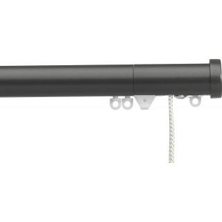 Silent Gliss Corded 6120 Metropole 30mm Charcoal Stud Endcap Aluminium Curtain Pole