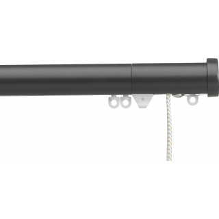 Silent Gliss Corded 6120 Metropole 30mm Charcoal Stud Endcap Aluminium Curtain Pole