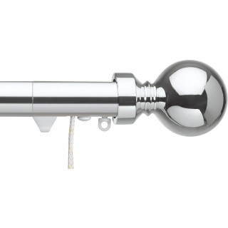 Silent Gliss Corded 6120 Metropole 30mm Chrome Overture Ball Aluminium Curtain Pole
