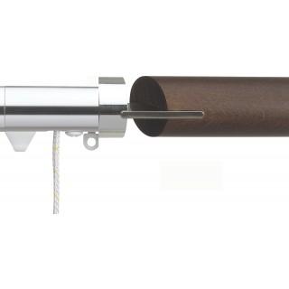 Silent Gliss Corded 6120 Metropole 30mm Chrome Walnut Fused Barrel Aluminium Curtain Pole