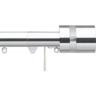 Silent Gliss Corded 6120 Metropole 30mm Chrome Clear Disc Strata Aluminium Curtain Pole