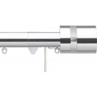 Silent Gliss Corded 6120 Metropole 30mm Chrome Clear Disc Strata Aluminium Curtain Pole