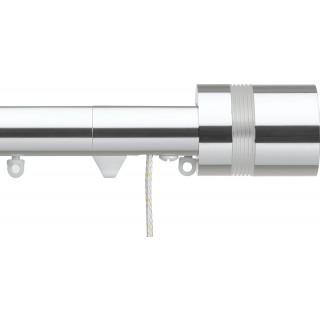Silent Gliss Corded 6120 Metropole 30mm Chrome Clear Ribbed Disc Strata Aluminium Curtain Pole