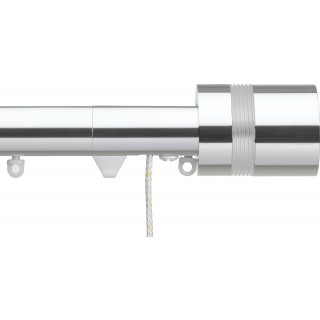 Silent Gliss Corded 6120 Metropole 30mm Chrome Clear Ribbed Disc Strata Aluminium Curtain Pole