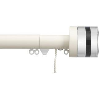 Silent Gliss Corded 6120 Metropole 30mm Ecru Tinted Brown Crystal Cylinder Aluminium Curtain Pole