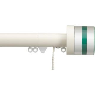 Silent Gliss Corded 6120 Metropole 30mm Ecru Tinted Emerald Crystal Cylinder Aluminium Curtain Pole