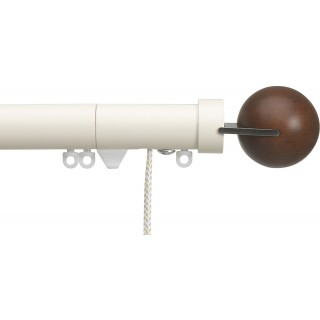 Silent Gliss Corded 6120 Metropole 30mm Ecru Walnut Fused Ball Aluminium Curtain Pole