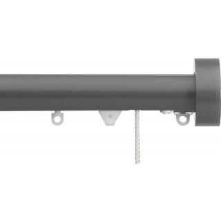 Silent Gliss Corded 6120 Metropole 30mm Gunmetal Design Endcap Aluminium Curtain Pole
