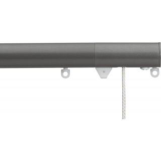 Silent Gliss Corded 6120 Metropole 30mm Gunmetal Flush Endcap Aluminium Curtain Pole