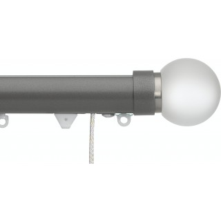 Silent Gliss Corded 6120 Metropole 30mm Gunmetal Frosted Ball Aluminium Curtain Pole