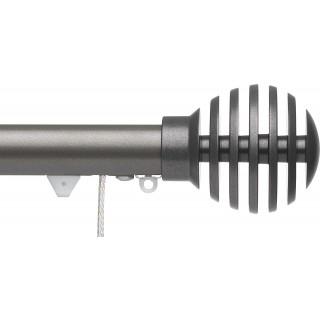 Silent Gliss Corded 6120 Metropole 30mm Gunmetal Groove Ball Aluminium Curtain Pole