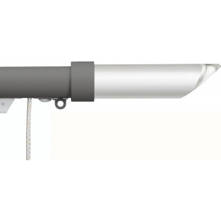 Silent Gliss Corded 6120 Metropole 30mm Gunmetal Shard Cylinder Clear Aluminium Curtain Pole