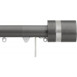 Silent Gliss Corded 6120 Metropole 30mm Gunmetal Clear Ribbed Disc Strata Aluminium Curtain Pole