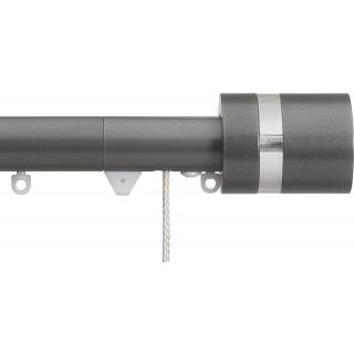 Silent Gliss Corded 6120 Metropole 30mm Gunmetal Clear Disc Strata Aluminium Curtain Pole