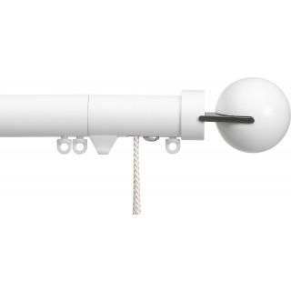 Silent Gliss Corded 6120 Metropole 30mm Matt White Matched Fused Ball Aluminium Curtain Pole