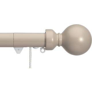 Silent Gliss Corded 6120 Metropole 30mm Taupe Overture Ball Aluminium Curtain Pole
