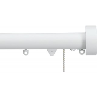 Silent Gliss Corded 6120 Metropole 30mm White Design Endcap Aluminium Curtain Pole