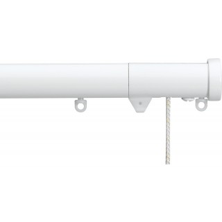 Silent Gliss Corded 6120 Metropole 30mm White Stud Endcap Aluminium Curtain Pole