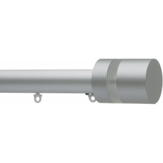 Silent Gliss 6140 Metropole 50mm Silver Clear Ribbed Disc Strata Aluminium Curtain Pole