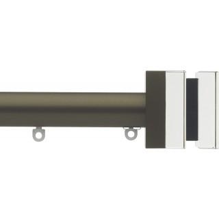 Silent Gliss 6130 Metropole 30mm Antique Bronze Tinted Black Crystal Cube Aluminium Curtain Pole