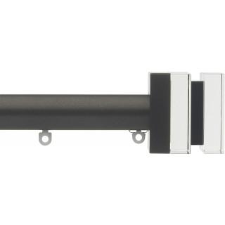 Silent Gliss 6130 Metropole 30mm Bronze Tinted Black Crystal Cube Aluminium Curtain Pole
