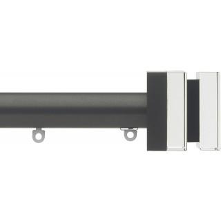 Silent Gliss 6130 Metropole 30mm Gunmetal Tinted Black Crystal Cube Aluminium Curtain Pole