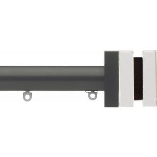 Silent Gliss 6130 Metropole 30mm Gunmetal Tinted Brown Crystal Cube Aluminium Curtain Pole