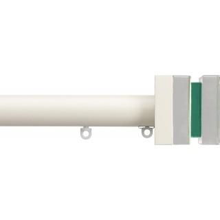 Silent Gliss 6130 Metropole 30mm Ecru Tinted Emerald Crystal Cube Aluminium Curtain Pole