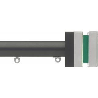 Silent Gliss 6130 Metropole 30mm Gunmetal Tinted Emerald Crystal Cube Aluminium Curtain Pole