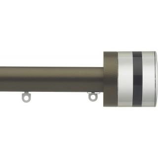 Silent Gliss 6130 Metropole 30mm Antique Bronze Tinted Black Crystal Cylinder Aluminium Curtain Pole