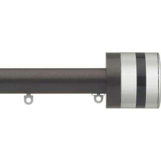 Silent Gliss 6130 Metropole 30mm Bronze Tinted Black Crystal Cylinder Aluminium Curtain Pole