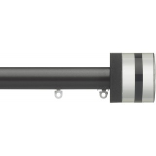 Silent Gliss 6130 Metropole 30mm Charcoal Tinted Black Crystal Cylinder Aluminium Curtain Pole